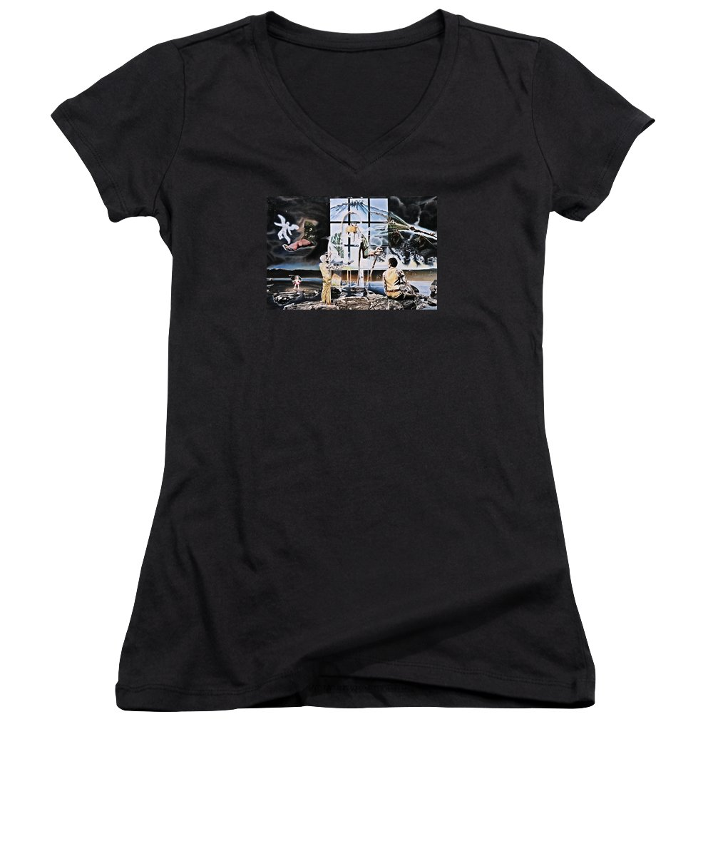 Surreal Women's V-Neck (Athletic Fit) featuring the painting Surreal Windows Of Allegory by Dave Martsolf