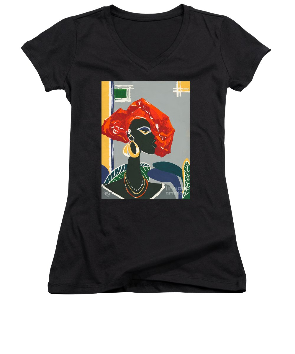 Black Women's V-Neck T-Shirt featuring the painting The Ambassador by Elisabeta Hermann