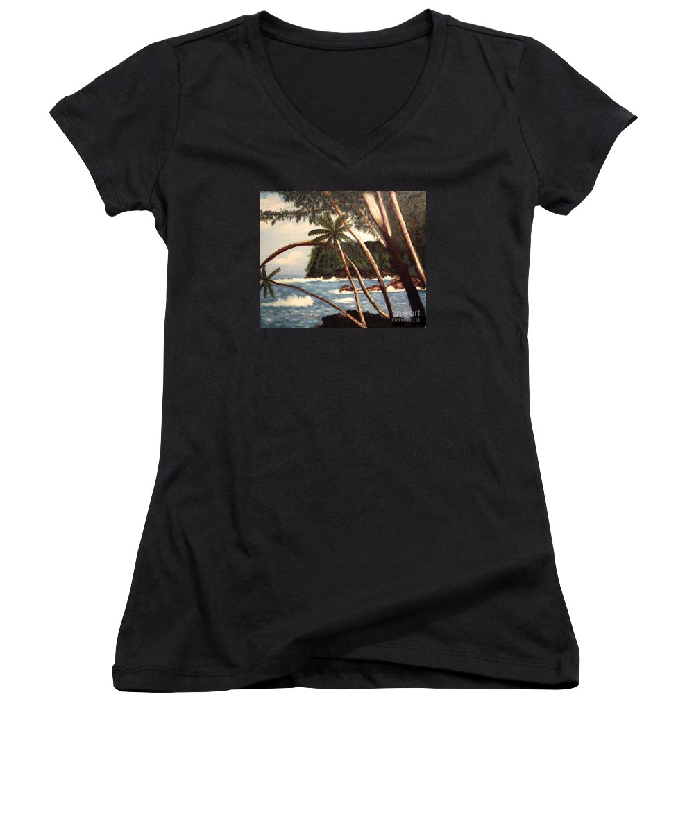 Hawaii Women's V-Neck T-Shirt featuring the painting The Big Island by Laurie Morgan