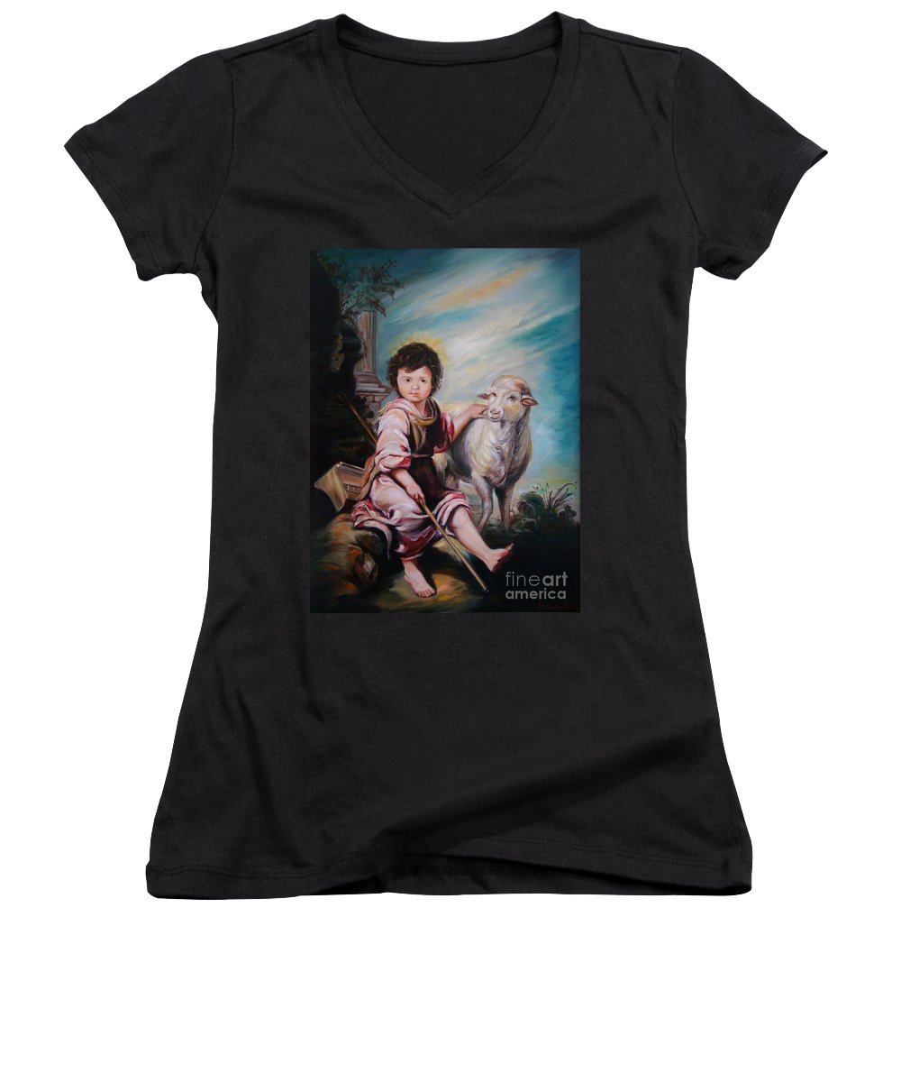 Classic Art Women's V-Neck T-Shirt featuring the painting The Good Shepherd by Silvana Abel