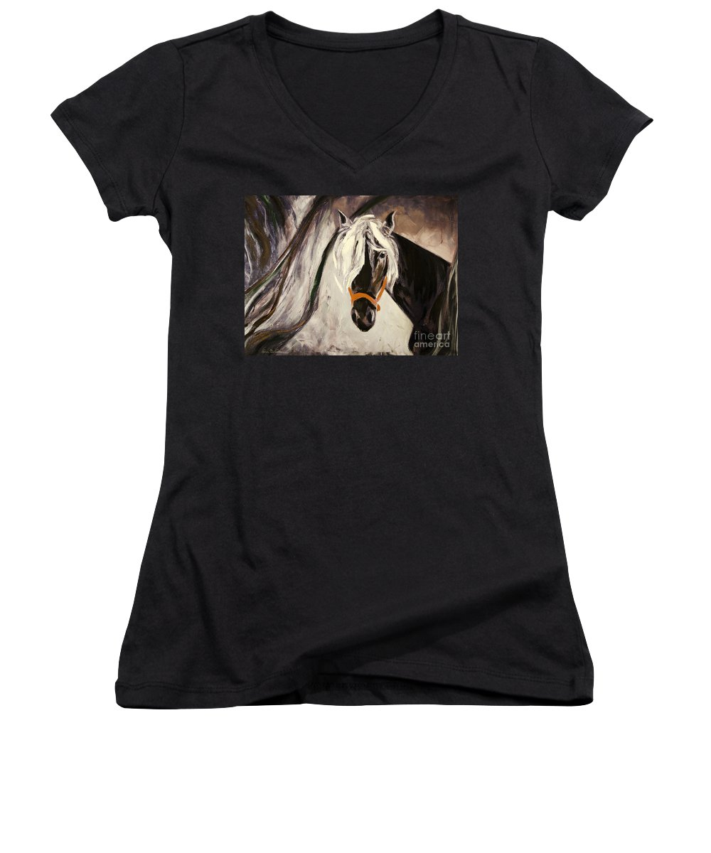 Horses Women's V-Neck T-Shirt featuring the painting The Performer by Gina De Gorna