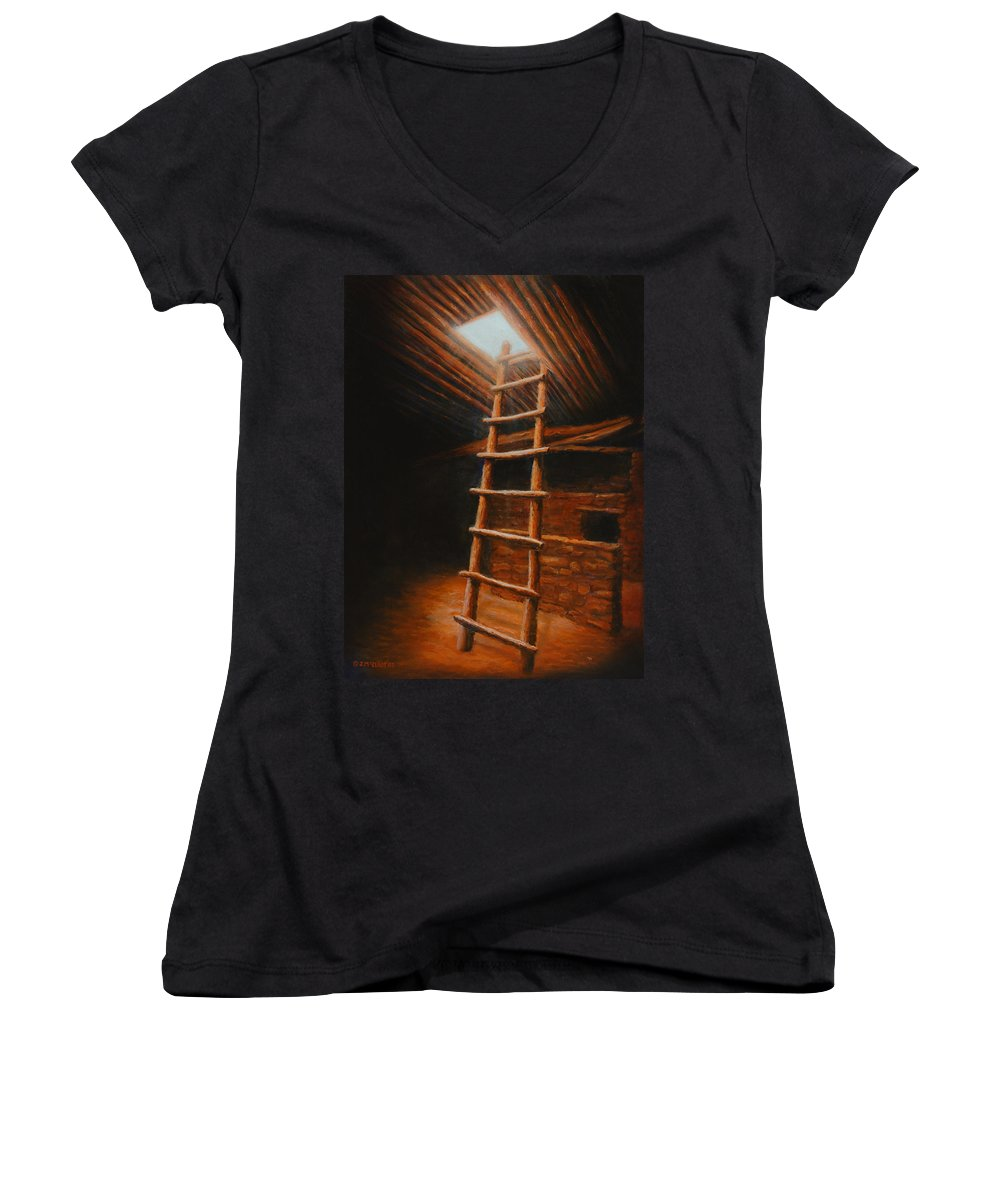 Kiva Women's V-Neck T-Shirt featuring the painting The Second World by Jerry McElroy