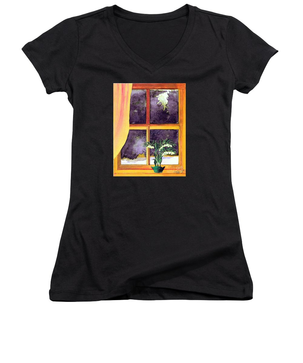 Fine Art Women's V-Neck (Athletic Fit) featuring the painting Through The Window by Patricia Griffin Brett