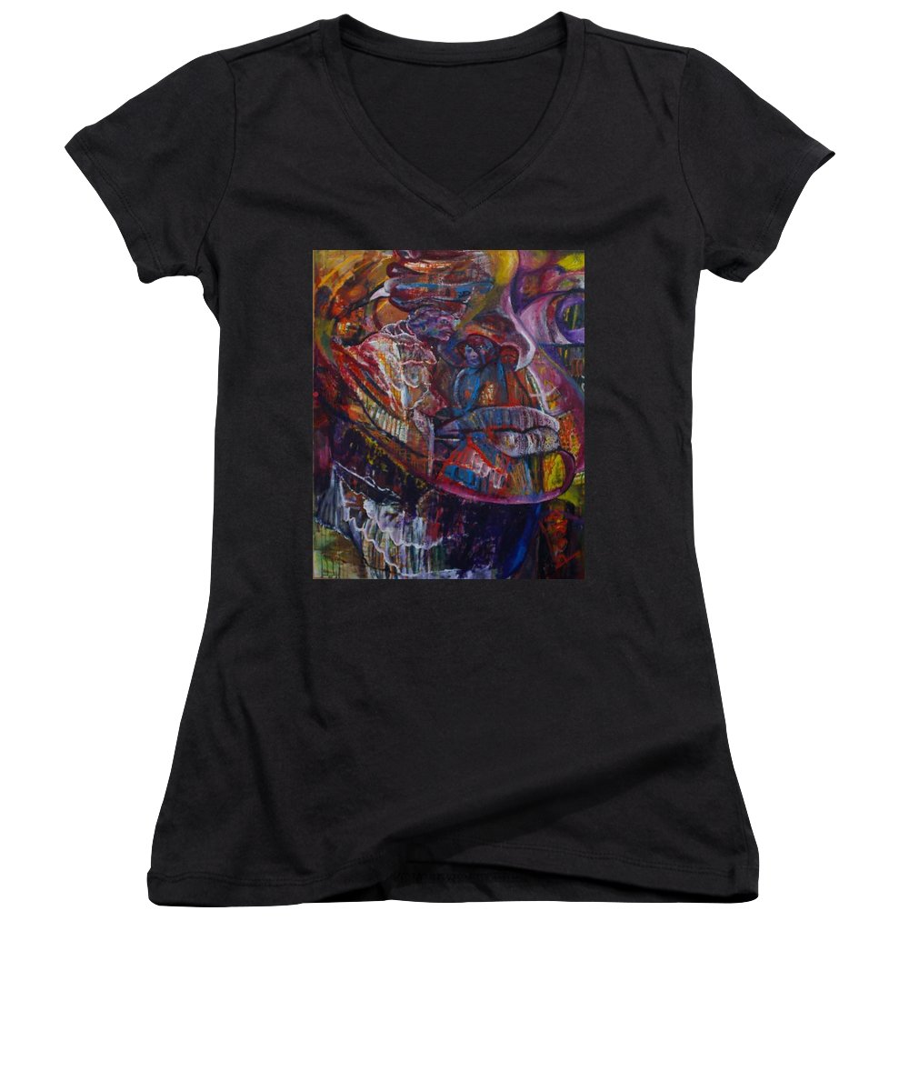 African Women Women's V-Neck T-Shirt featuring the painting Tikor Woman by Peggy Blood