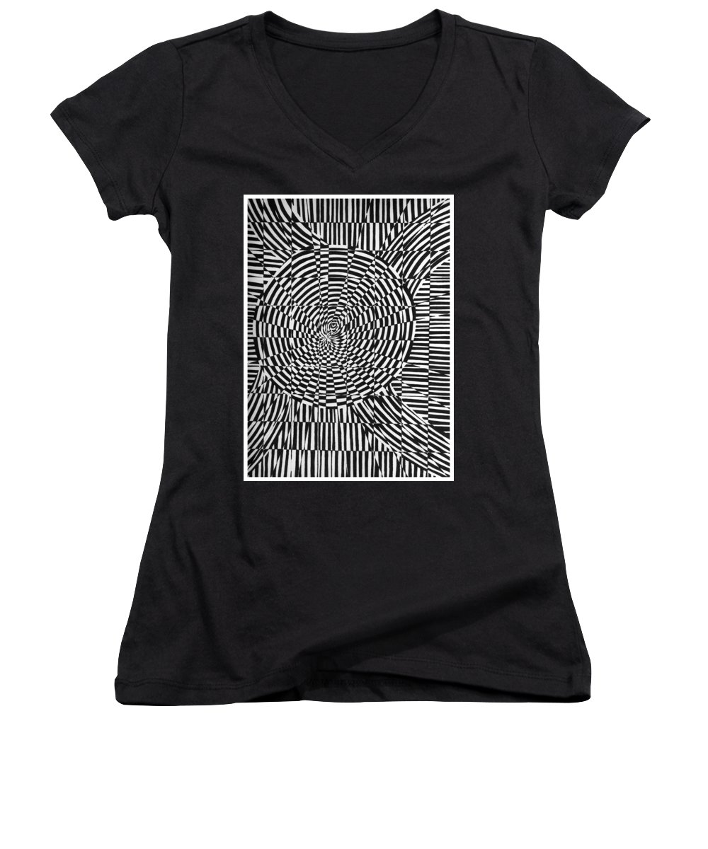 Abstract Women's V-Neck T-Shirt featuring the drawing Unraveled by Crystal Hubbard