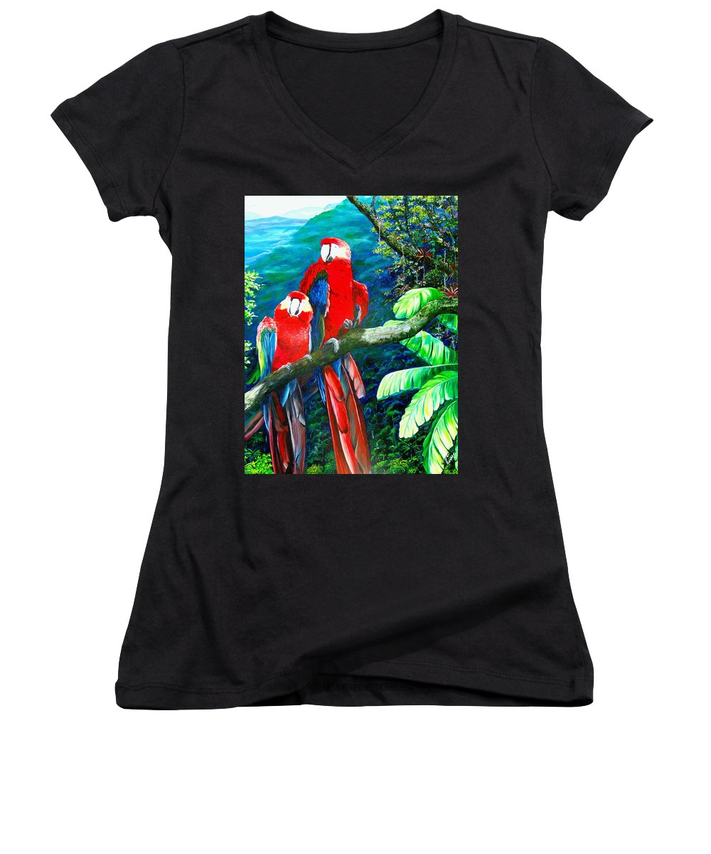 Caribbean Painting Green Wing Macaws Red Mountains Birds Trinidad And Tobago Birds Parrots Macaw Paintings Greeting Card  Women's V-Neck T-Shirt featuring the painting Who Me  by Karin Dawn Kelshall- Best