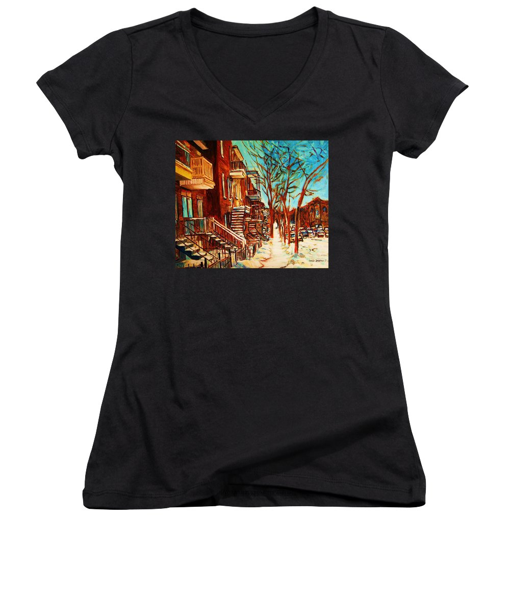 Verdun Paintings By Montreal Street Scene Artist Carole Spandau Women's V-Neck (Athletic Fit) featuring the painting Winter Staircase by Carole Spandau