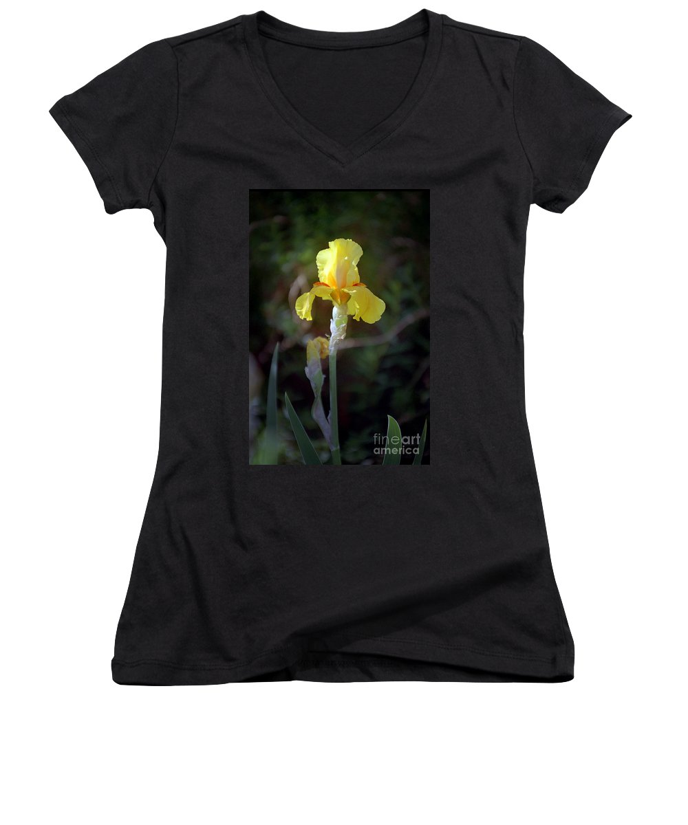 Iris Women's V-Neck (Athletic Fit) featuring the photograph Yellow Iris by Kathy McClure