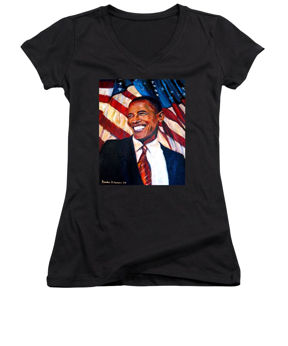 Barack Women's V-Neck T-Shirt featuring the painting Yes We Can by Art Nomad Sandra Hansen