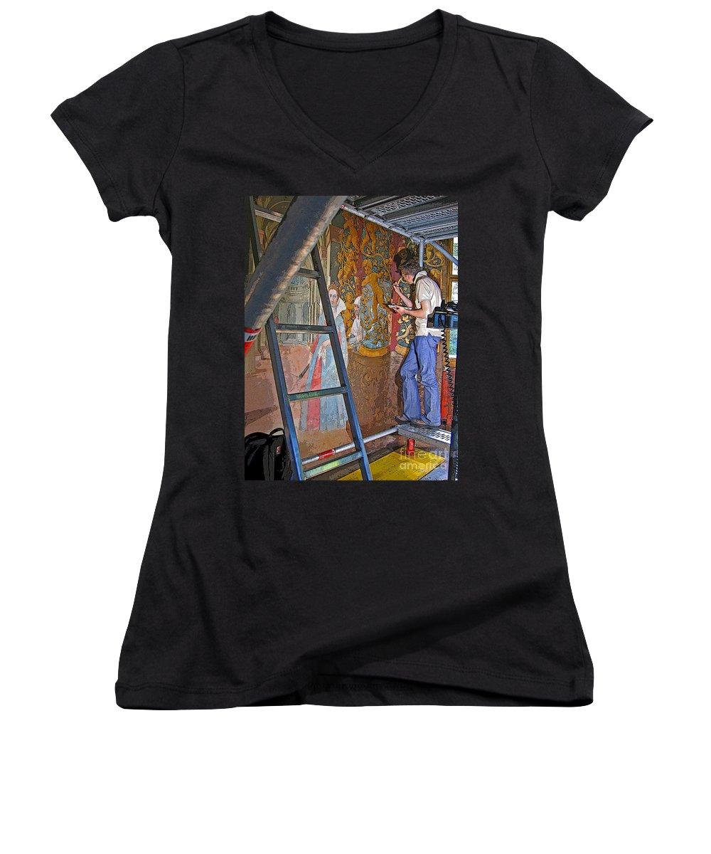 Art Women's V-Neck T-Shirt featuring the photograph Restoring Art by Ann Horn
