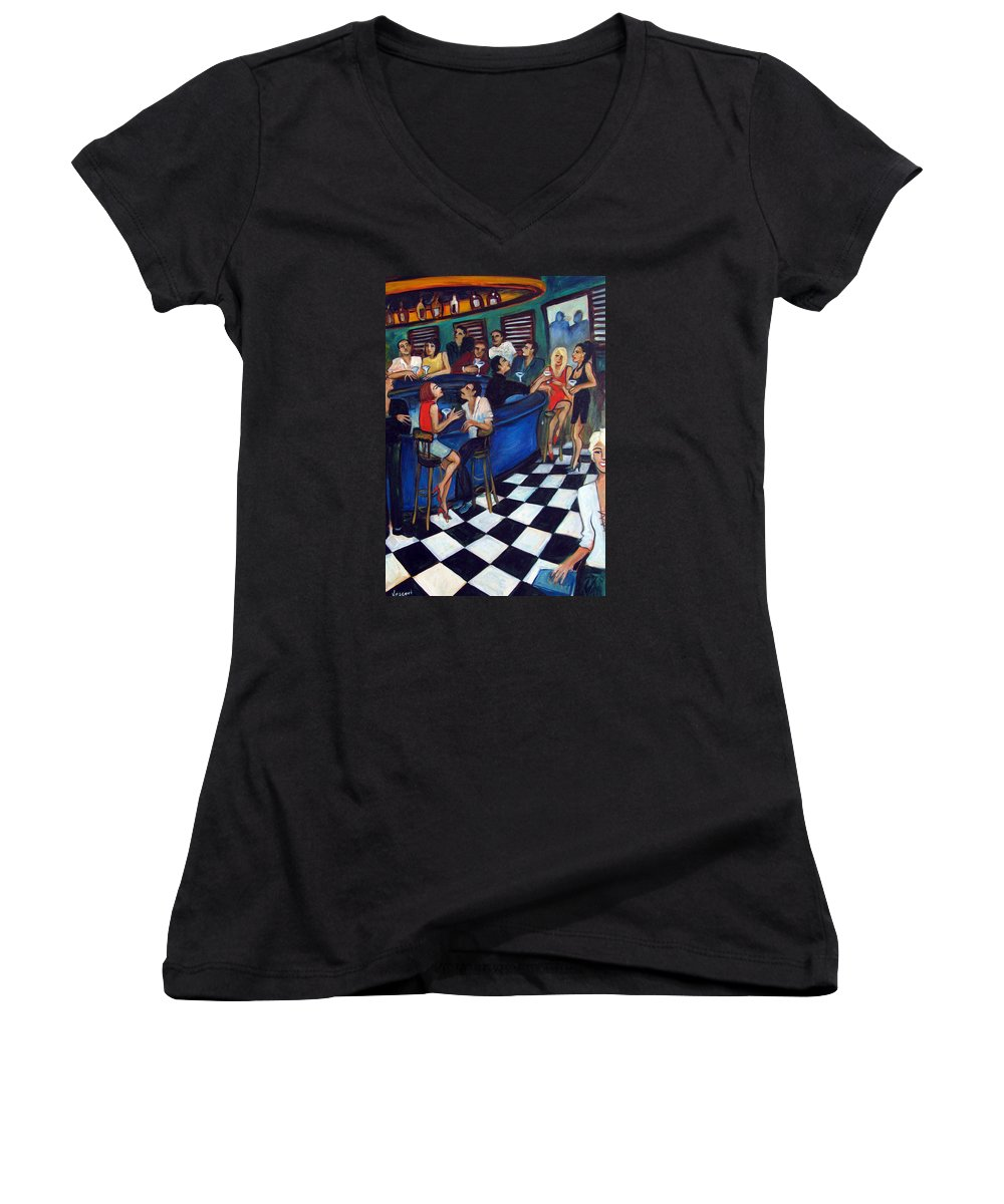 Chicago Style Bar Women's V-Neck (Athletic Fit) featuring the painting 32 East by Valerie Vescovi