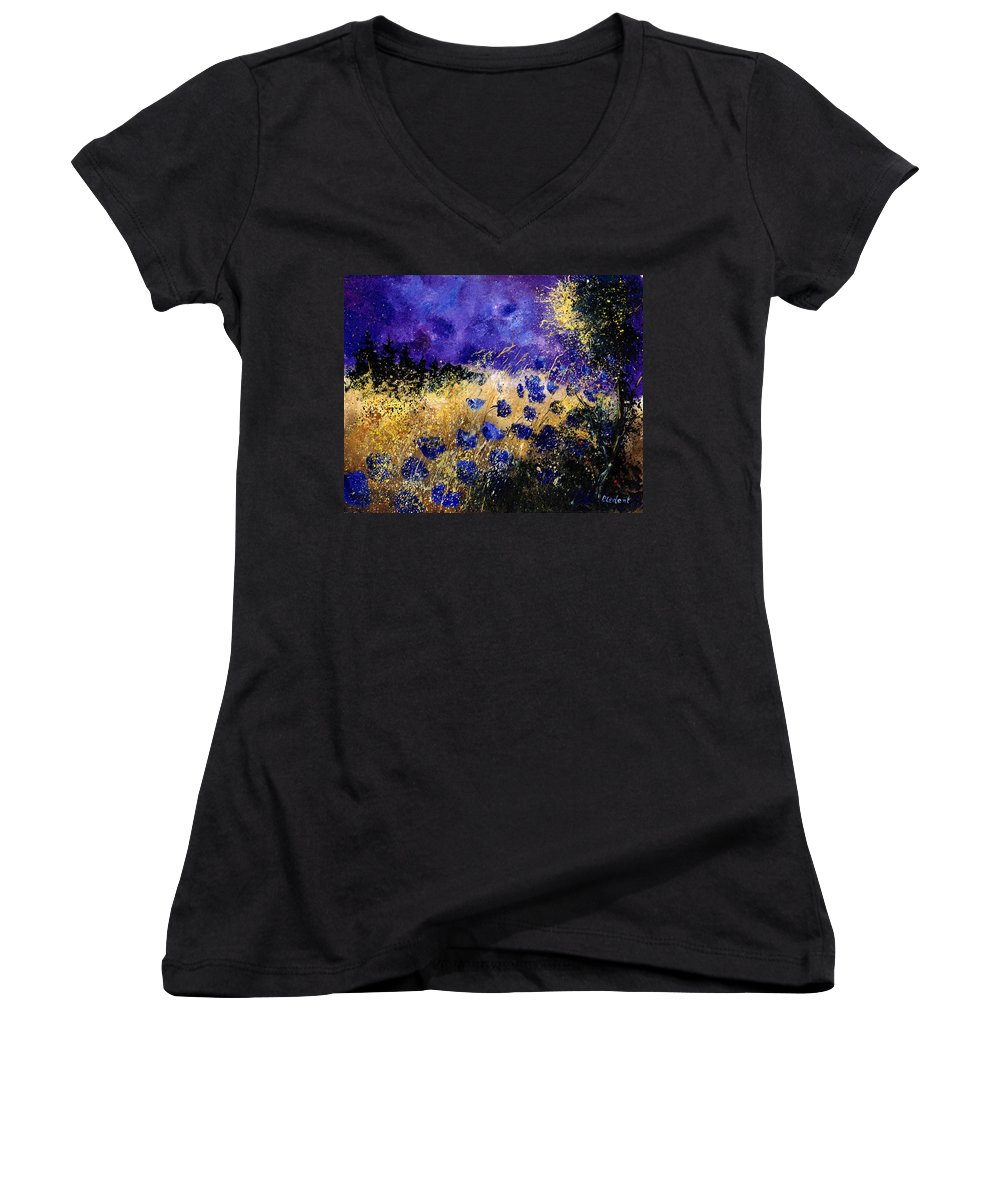 Poppies Women's V-Neck (Athletic Fit) featuring the painting Blue Cornflowers by Pol Ledent