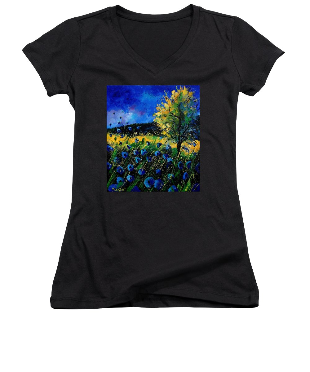 Poppies Women's V-Neck (Athletic Fit) featuring the painting Blue Poppies by Pol Ledent