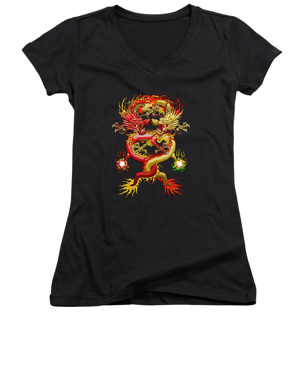�treasures Of Asia� Collection By Serge Averbukh Women's V-Neck T-Shirt (Junior Cut) featuring the photograph Brotherhood Of The Snake - The Red And The Yellow Dragons by Serge Averbukh