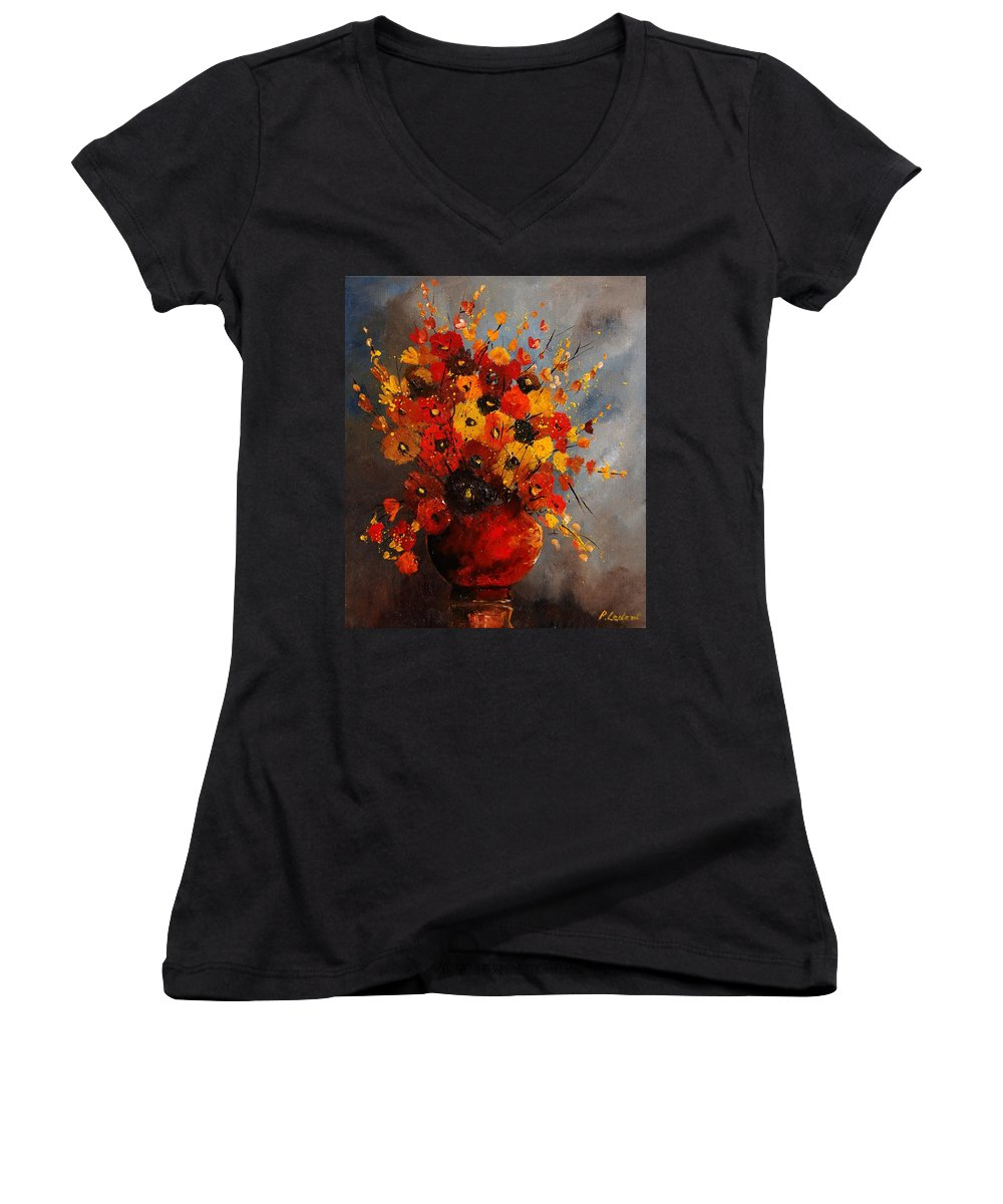 Flowers Women's V-Neck (Athletic Fit) featuring the painting Bunch 0708 by Pol Ledent
