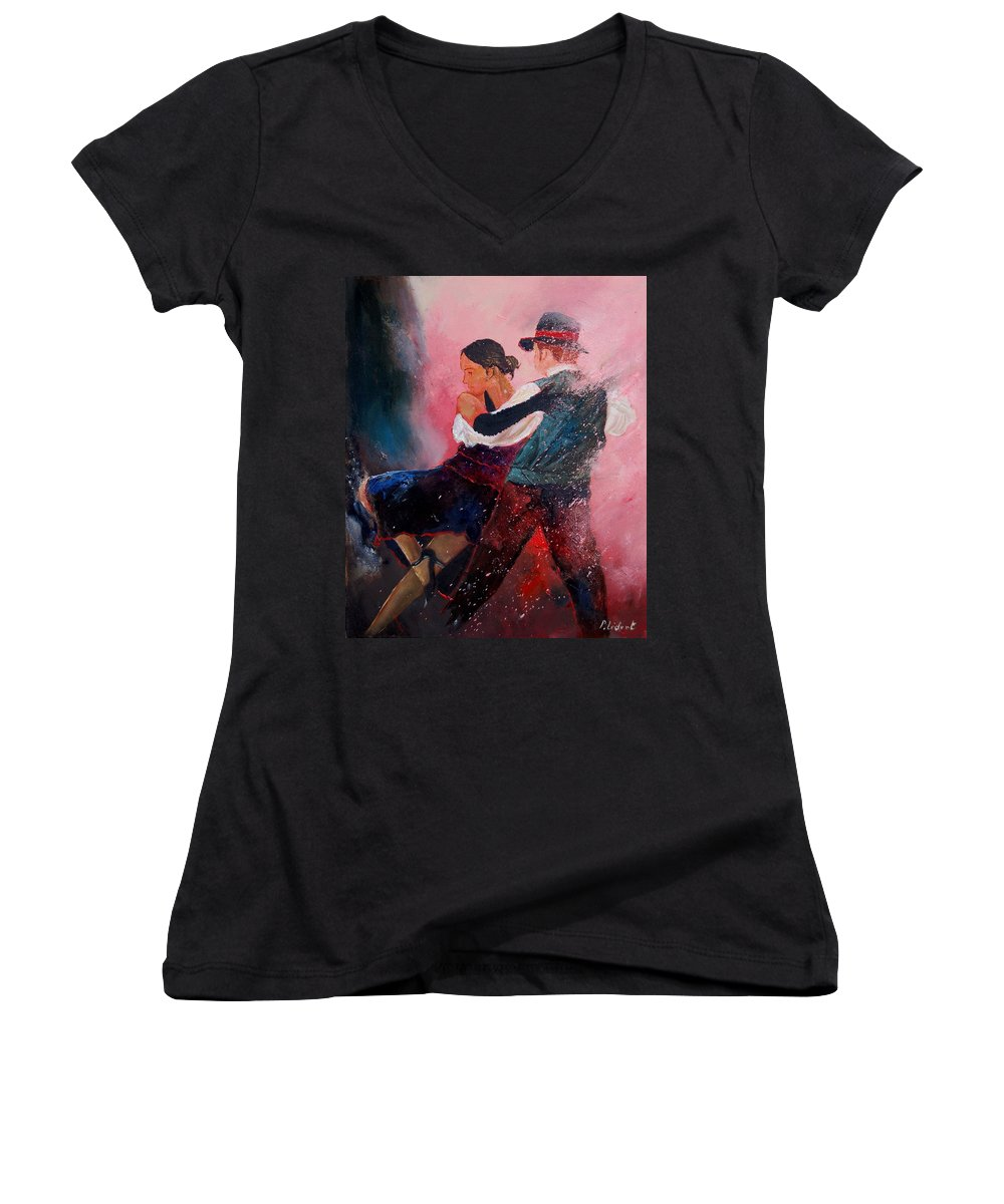 Music Women's V-Neck (Athletic Fit) featuring the painting Dancing Tango by Pol Ledent