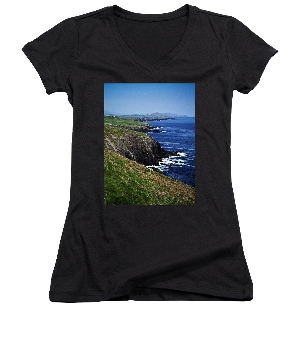 Irish Women's V-Neck (Athletic Fit) featuring the photograph Dingle Coastline Near Fahan Ireland by Teresa Mucha