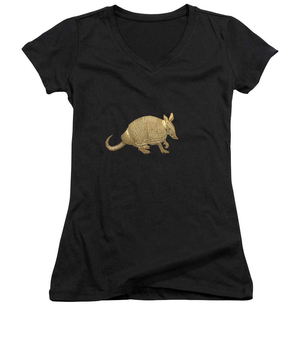 'beasts Creatures And Critters' Collection By Serge Averbukh Women's V-Neck T-Shirt (Junior Cut) featuring the photograph Gold Armadillo On Black Canvas by Serge Averbukh