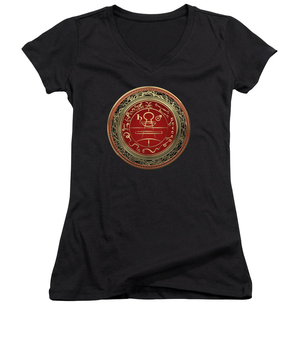 'sacred Symbols' Collection By Serge Averbukh Women's V-Neck featuring the photograph Gold Seal Of Solomon - Lesser Key Of Solomon On Black Velvet by Serge Averbukh
