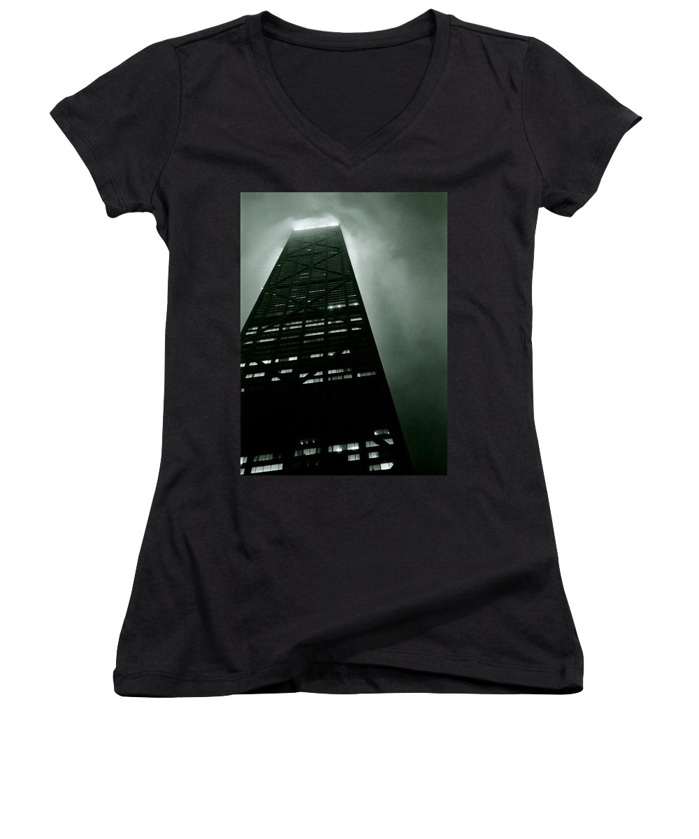 Geometric Women's V-Neck T-Shirt featuring the photograph John Hancock Building - Chicago Illinois by Michelle Calkins