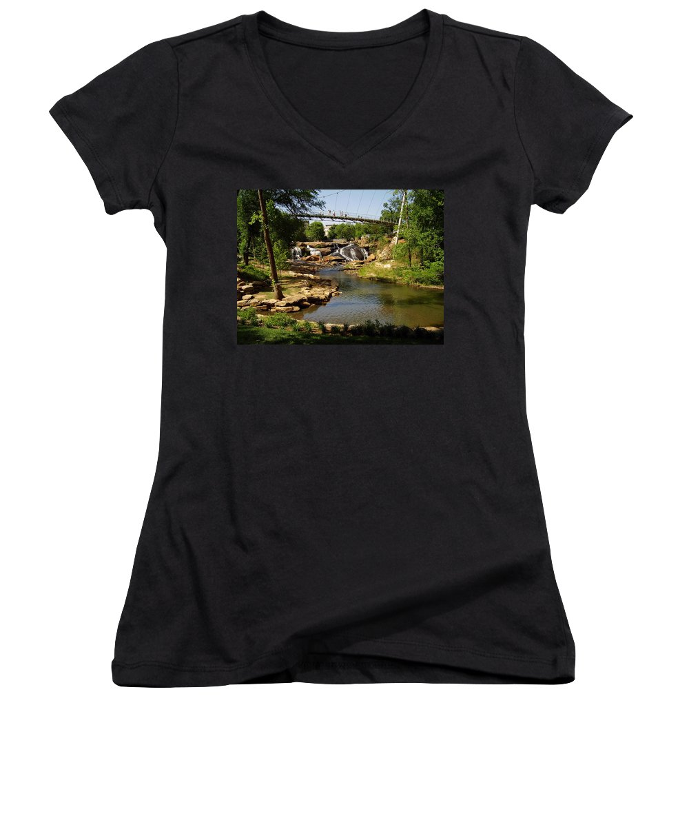 Liberty Bridge Women's V-Neck (Athletic Fit) featuring the photograph Liberty Bridge by Flavia Westerwelle