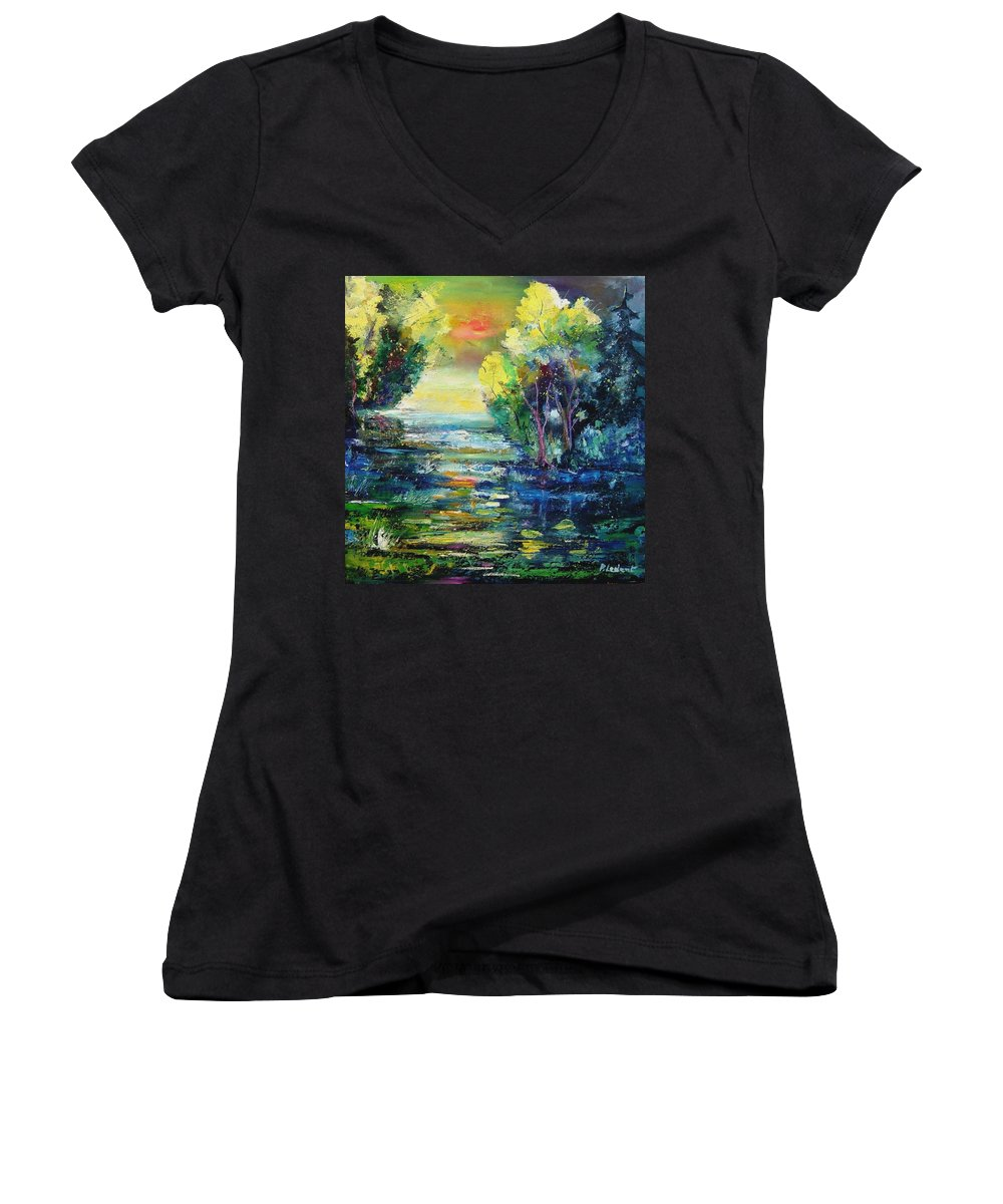 Pond Women's V-Neck T-Shirt featuring the painting Magic Pond by Pol Ledent