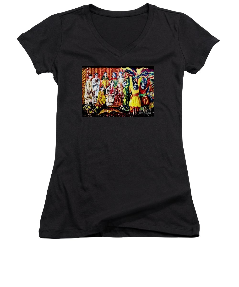 Oil Painting Women's V-Neck T-Shirt featuring the painting Pakistani Wedding by Fareeha Khawaja