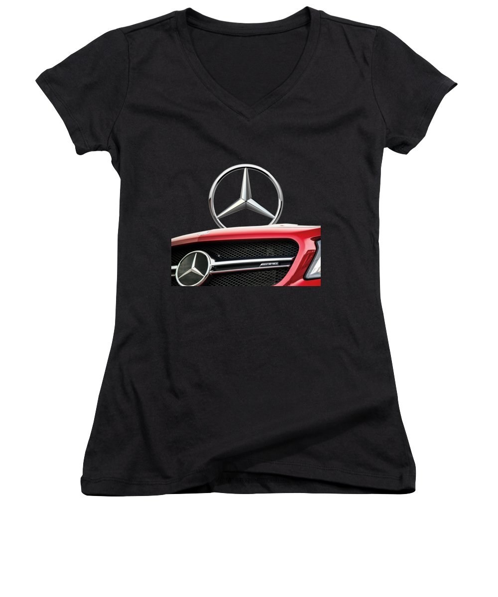 'auto Badges' By Serge Averbukh Women's V-Neck featuring the photograph Red Mercedes - Front Grill Ornament And 3 D Badge On Black by Serge Averbukh