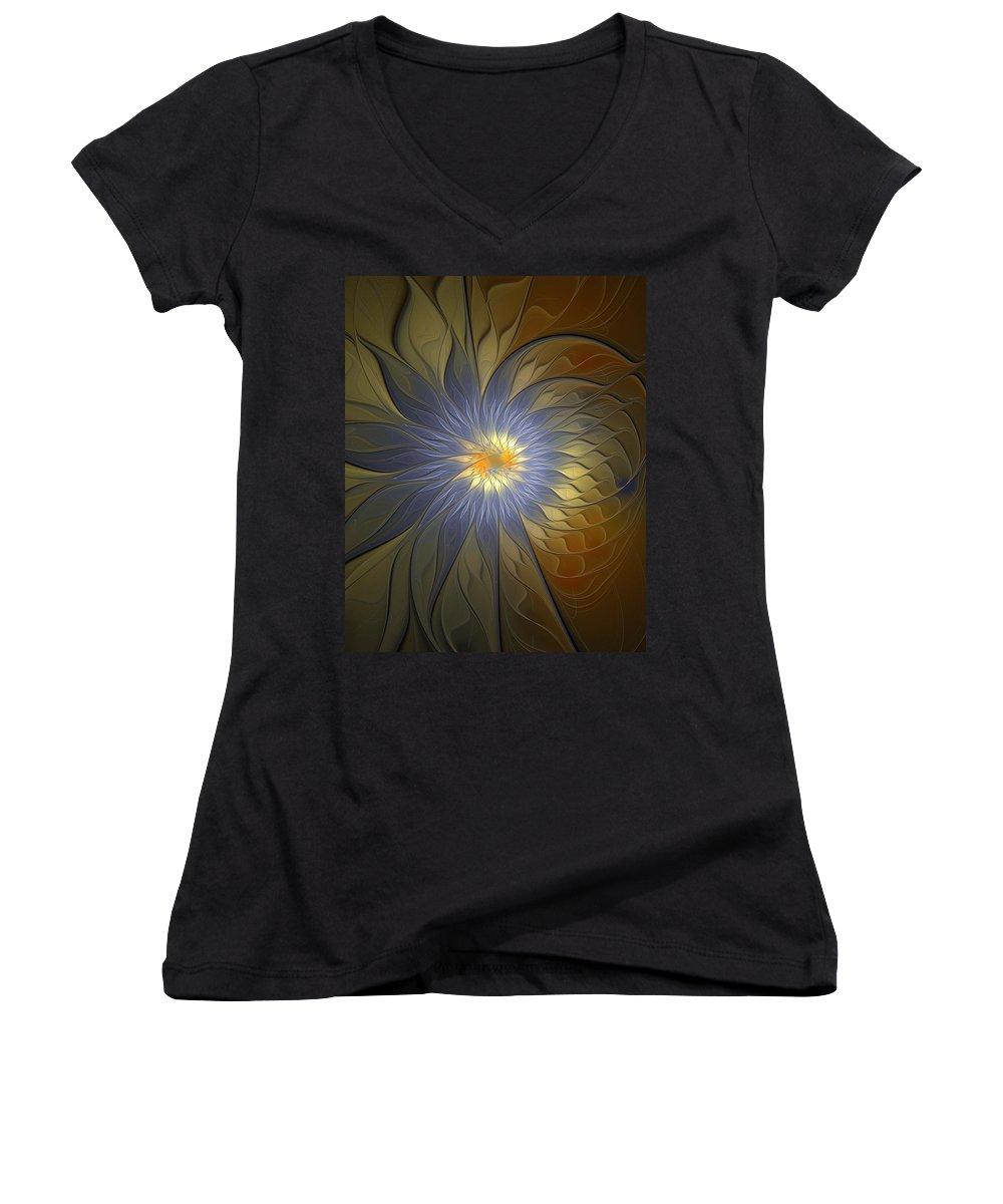 Digital Art Women's V-Neck T-Shirt featuring the digital art Something Blue by Amanda Moore