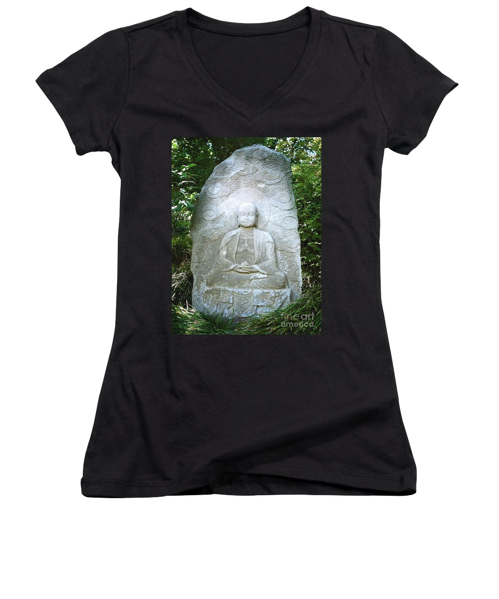 Stone Women's V-Neck T-Shirt featuring the photograph Stone Buddha by Dean Triolo