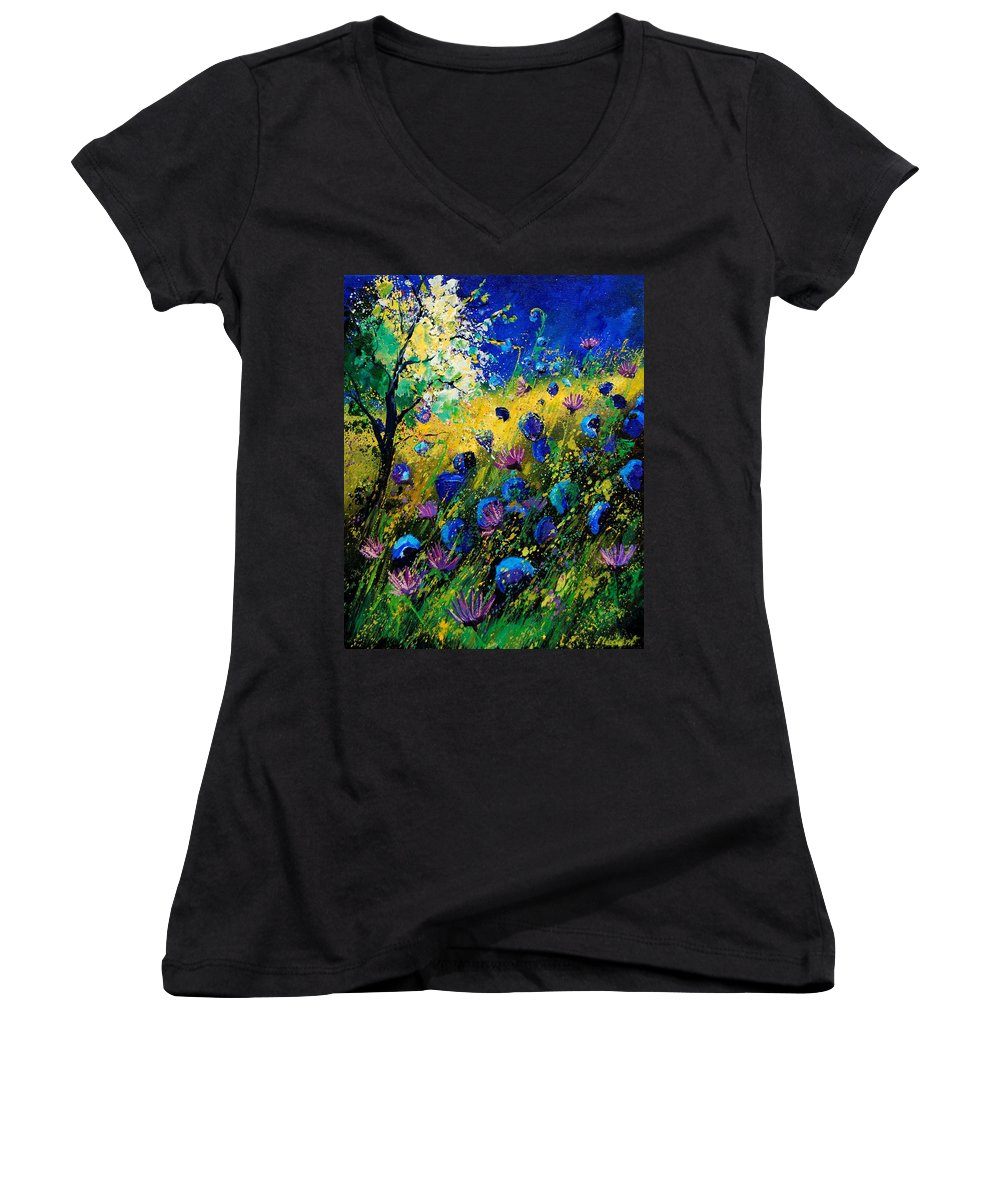 Poppies Women's V-Neck T-Shirt featuring the painting Summer 450208 by Pol Ledent