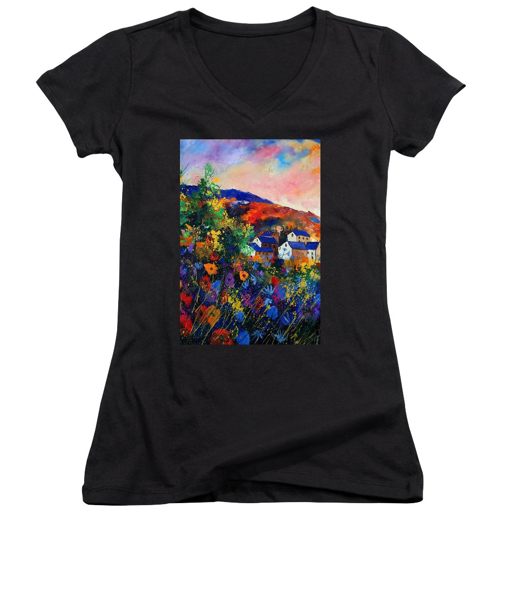 Landscape Women's V-Neck T-Shirt featuring the painting Summer by Pol Ledent