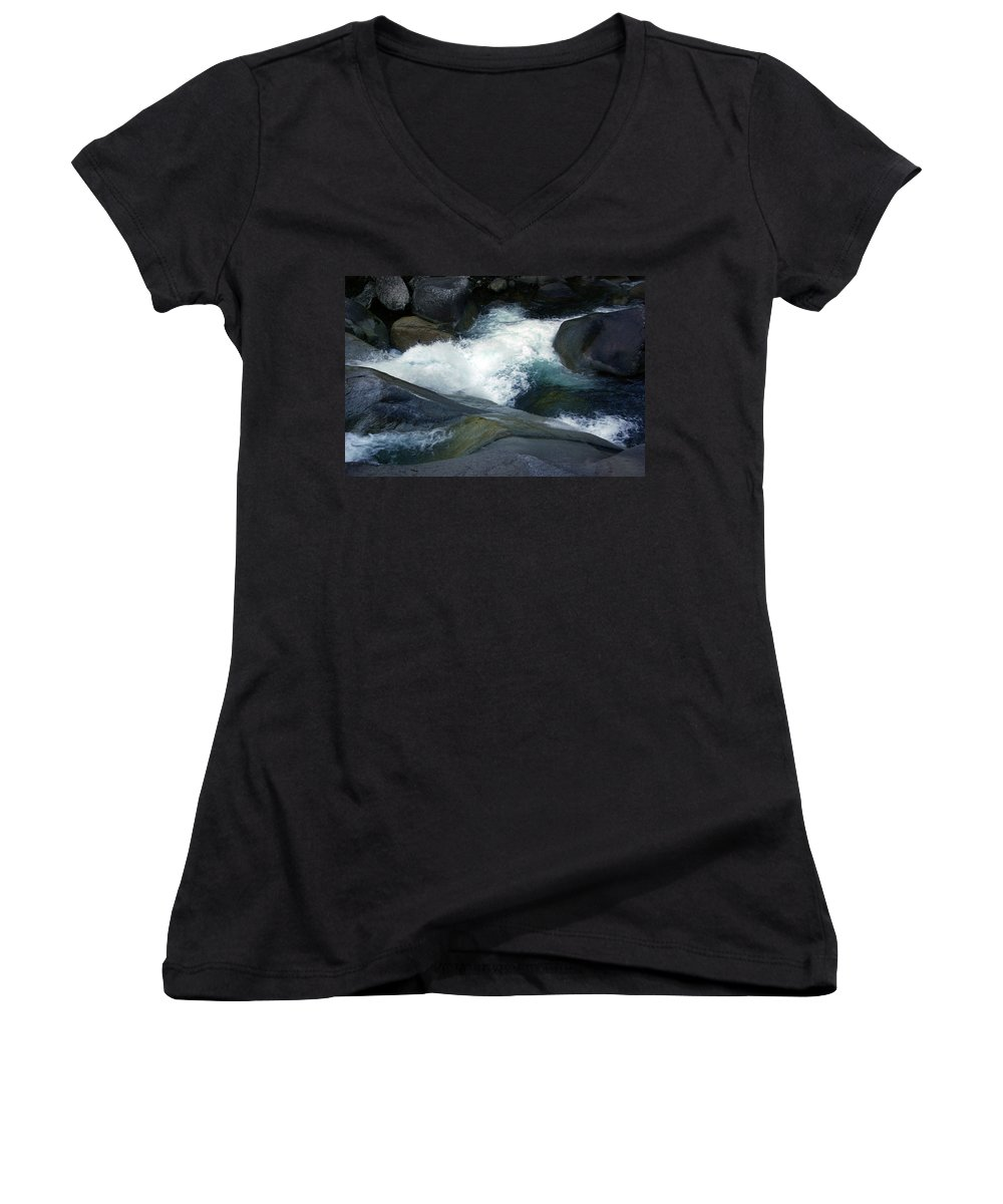 Fineart Women's V-Neck T-Shirt featuring the photograph Tropical Flowing Waters Josephine Falls by Kerryn Madsen- Pietsch