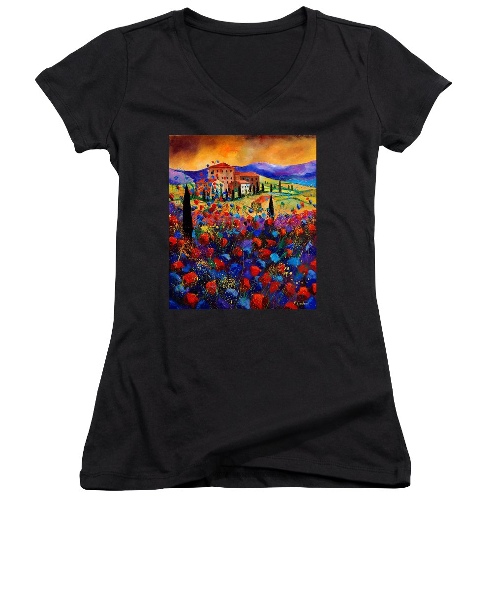 Flowers Women's V-Neck T-Shirt featuring the painting Tuscany Poppies by Pol Ledent