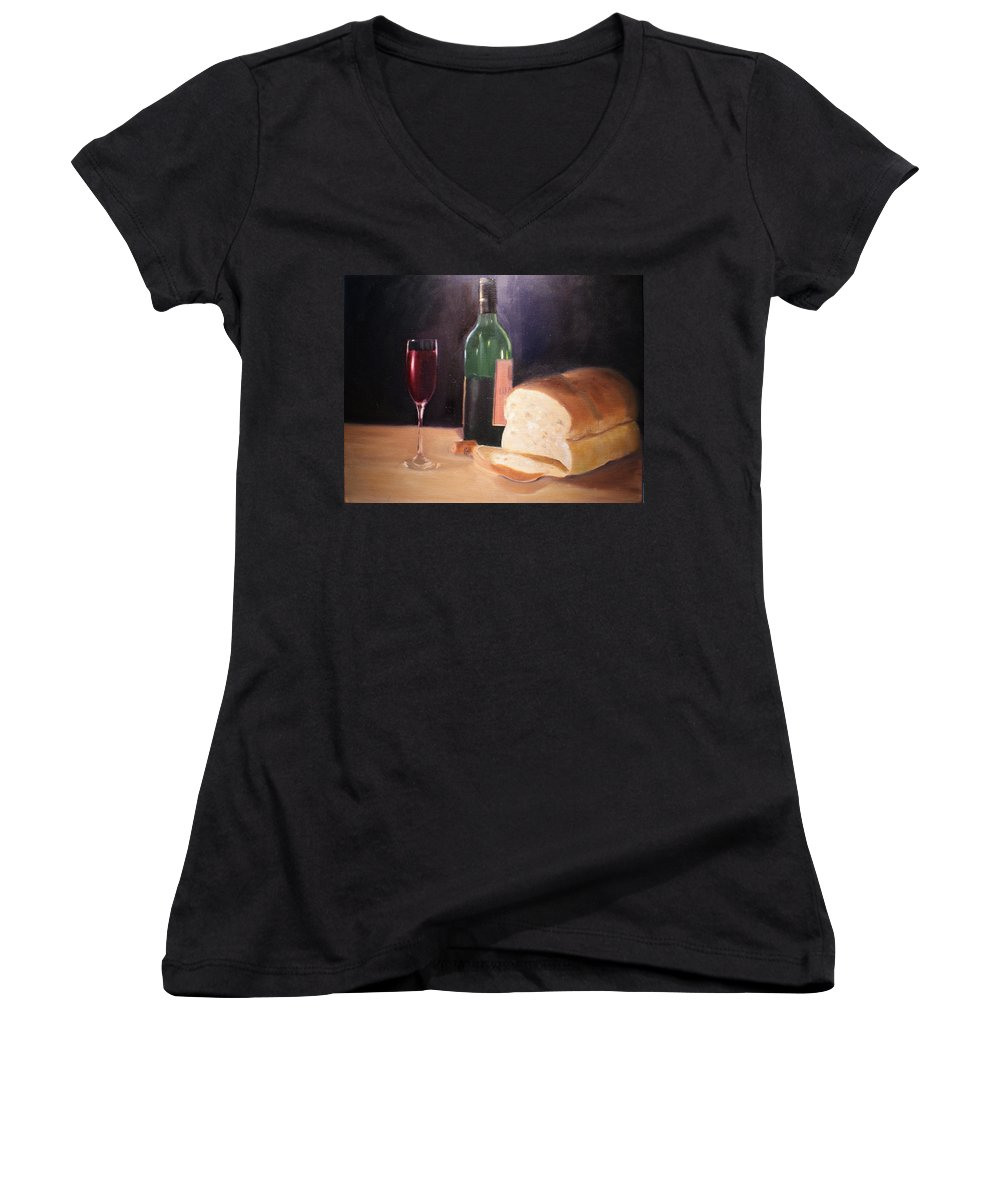 Wine Women's V-Neck (Athletic Fit) featuring the painting Untitled by Toni Berry