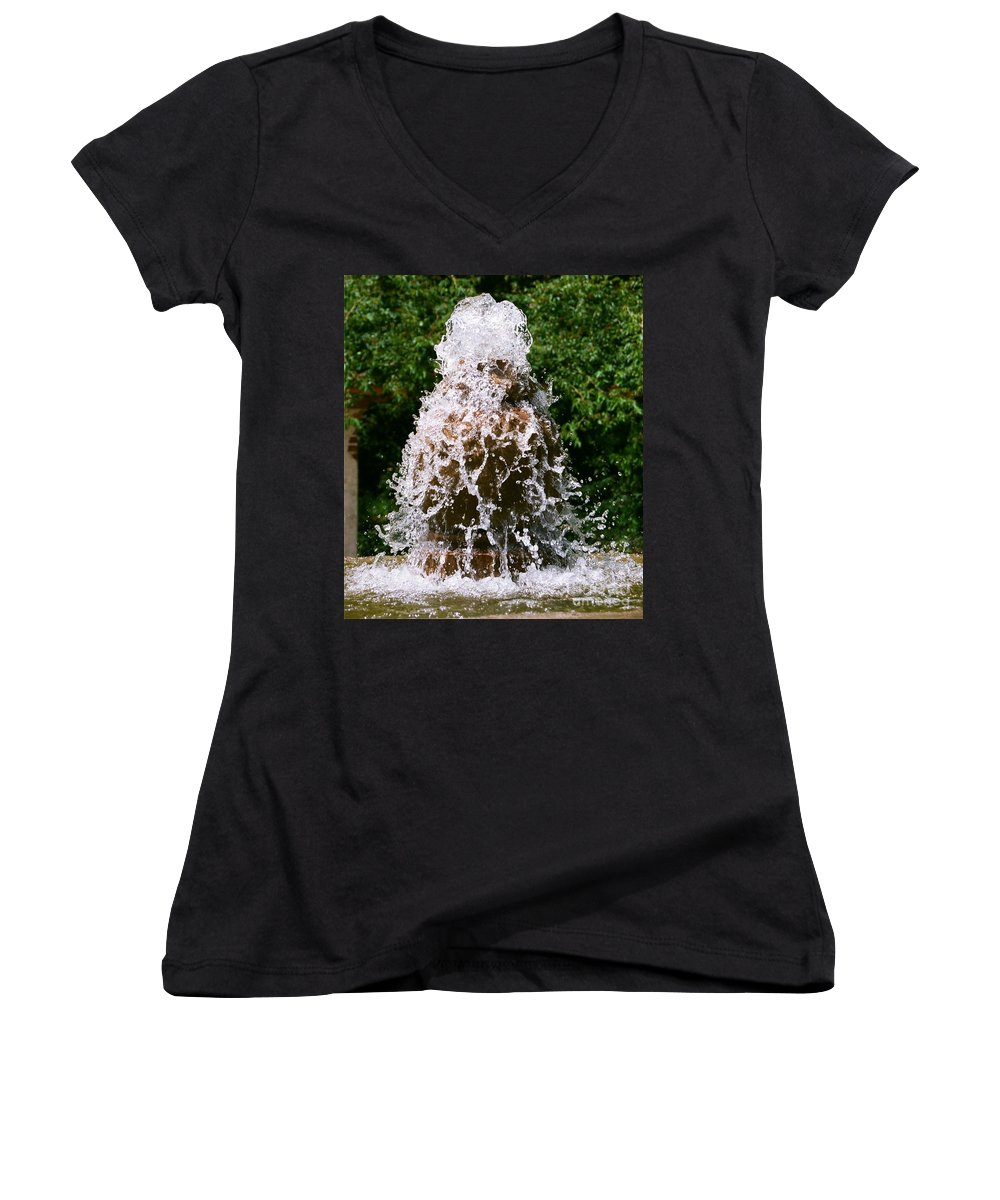 Water Women's V-Neck T-Shirt featuring the photograph Water Fountain by Dean Triolo