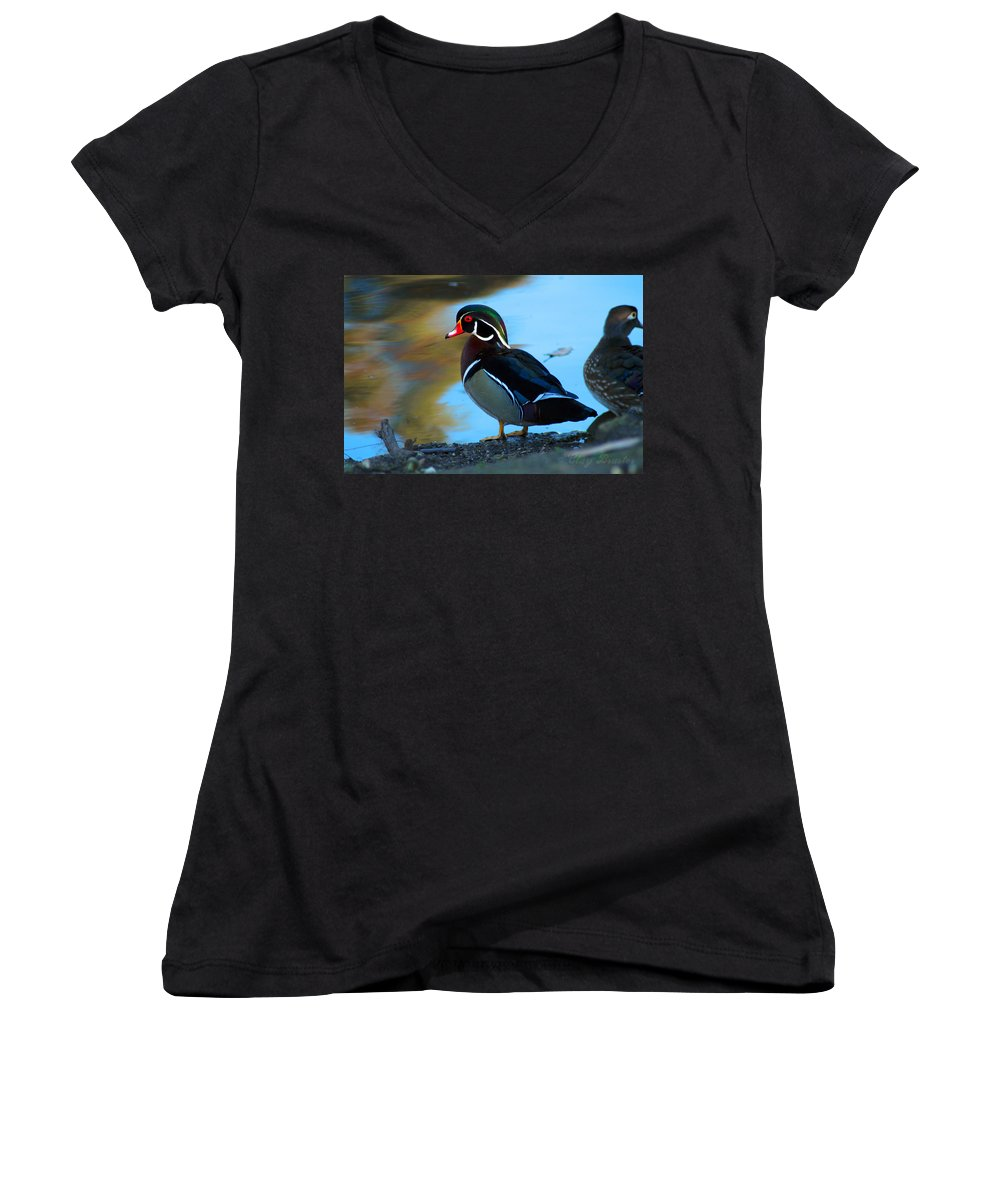 Clay Women's V-Neck T-Shirt featuring the photograph Wood Duck by Clayton Bruster