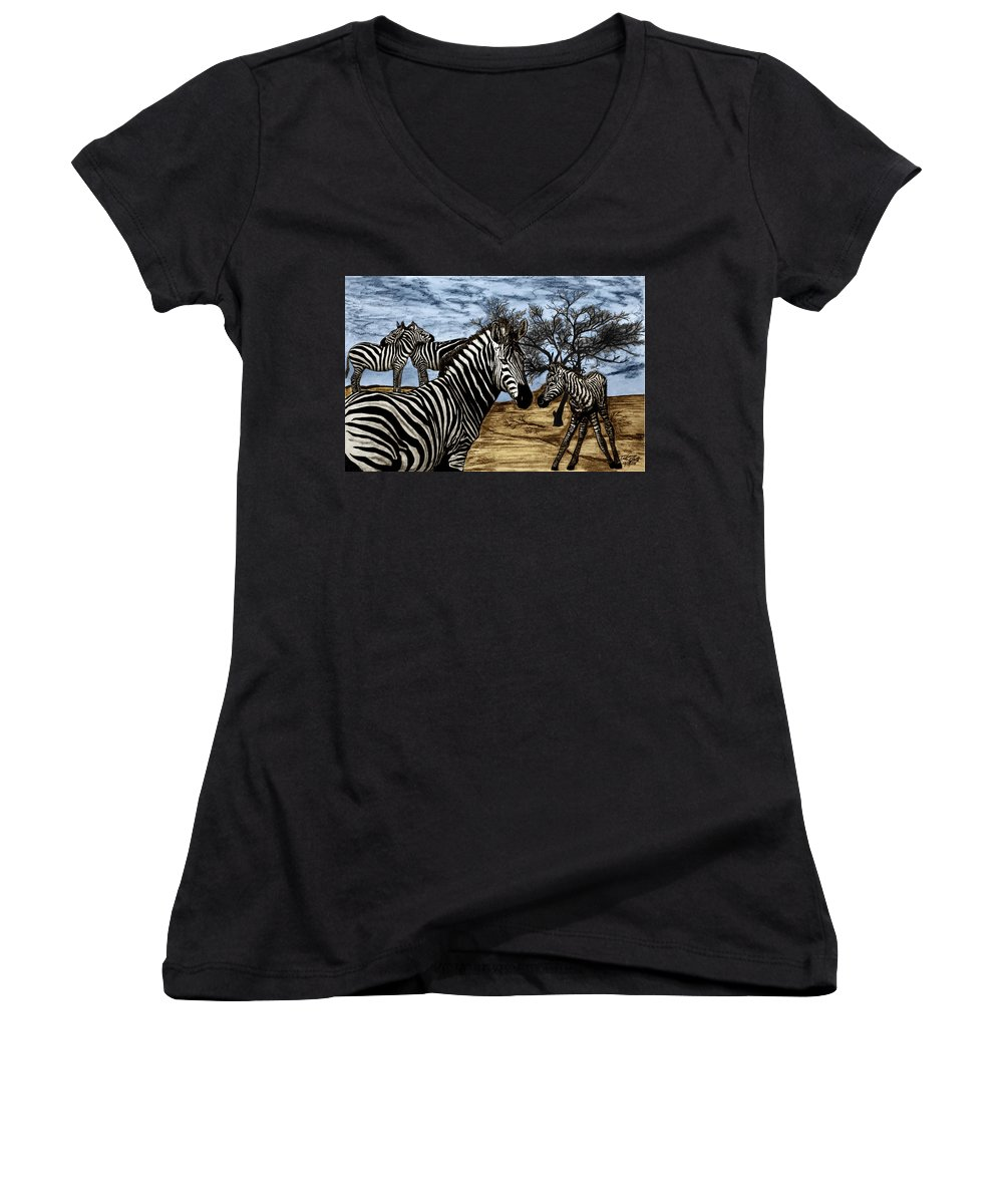 Zebra Outback Women's V-Neck (Athletic Fit) featuring the drawing Zebra Outback by Peter Piatt