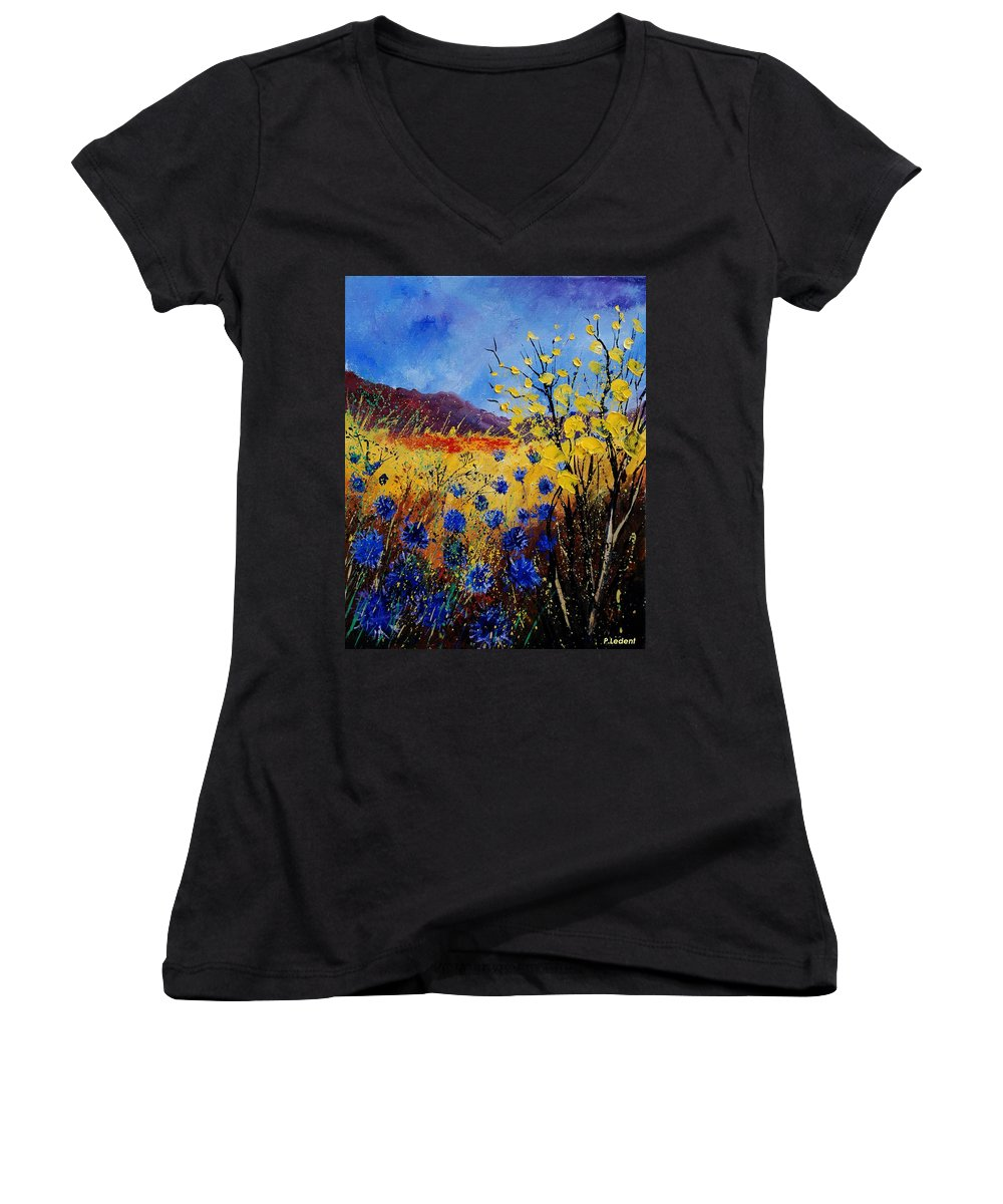 Poppies Flowers Floral Women's V-Neck T-Shirt featuring the painting Blue Cornflowers by Pol Ledent