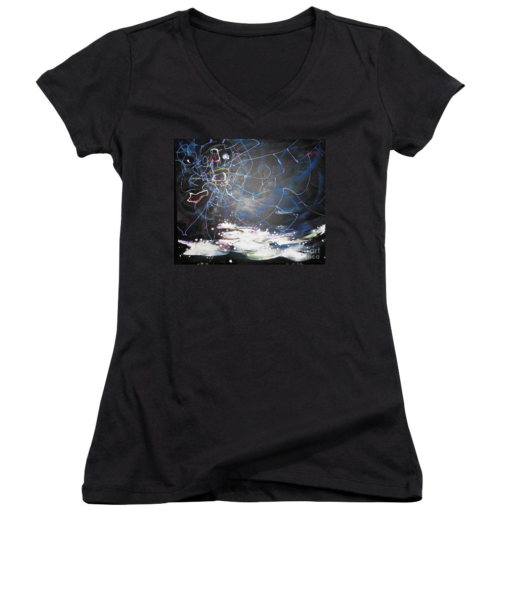 Abstract Paintings Women's V-Neck T-Shirt featuring the painting Buckwheat Field by Seon-Jeong Kim