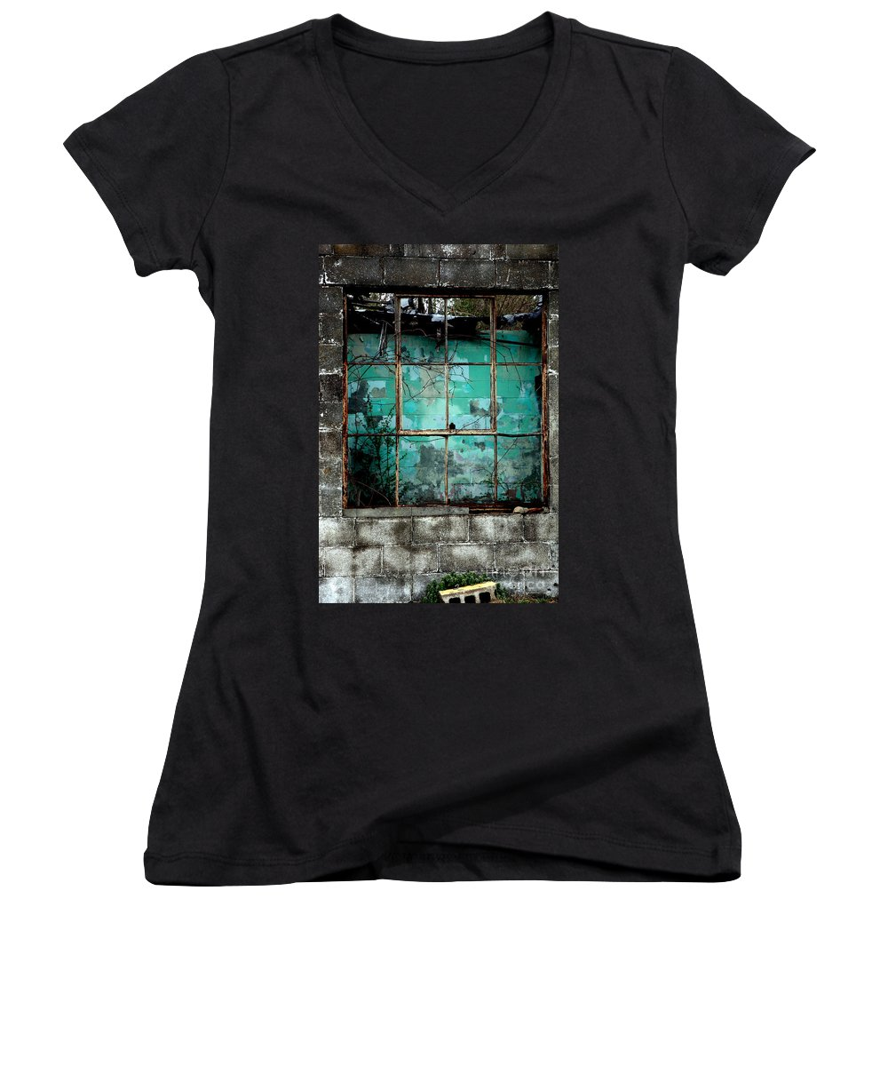 Windows Women's V-Neck T-Shirt featuring the photograph Window by Amanda Barcon