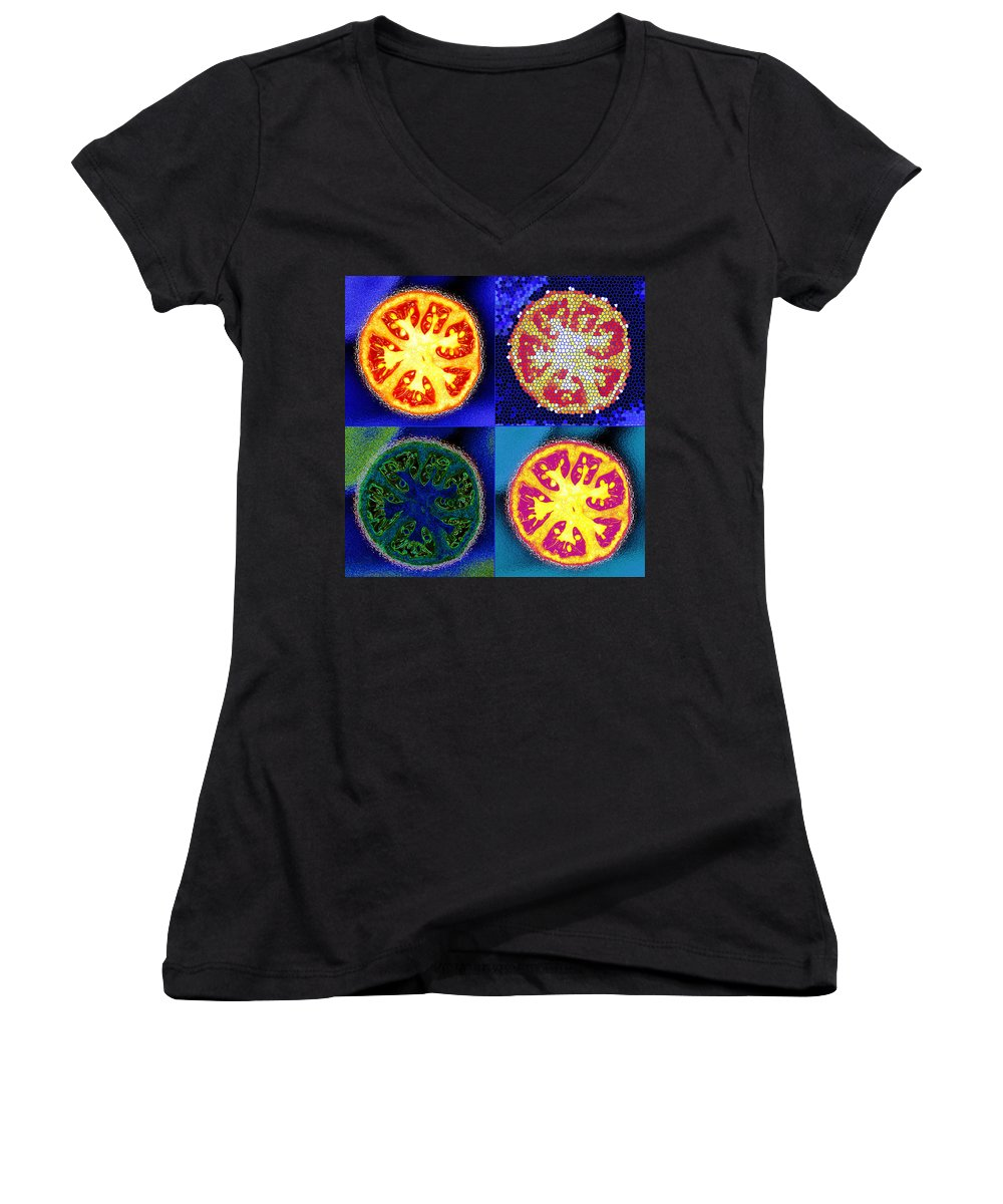 Tomatoes Women's V-Neck T-Shirt featuring the photograph 4 Abstract Tomatoes by Nancy Mueller