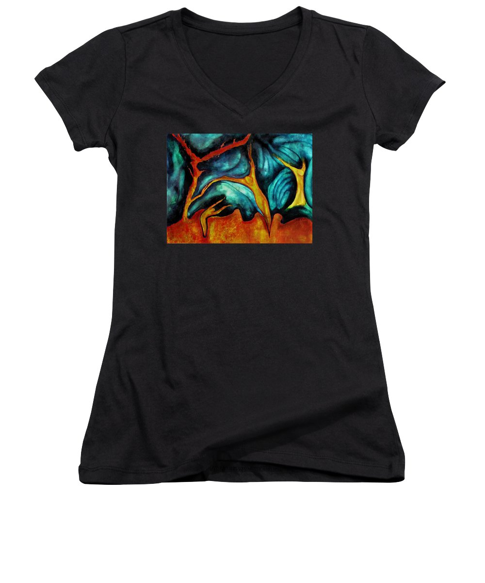 Soul Expression Words Thoughts Mind Connection Women's V-Neck (Athletic Fit) featuring the painting Untitled by Veronica Jackson