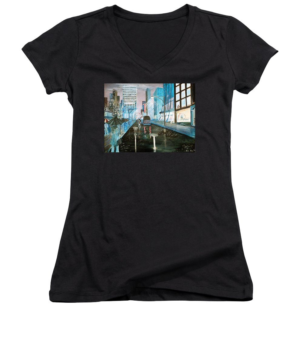 Street Scape Women's V-Neck T-Shirt featuring the painting 42nd Street Blue by Steve Karol