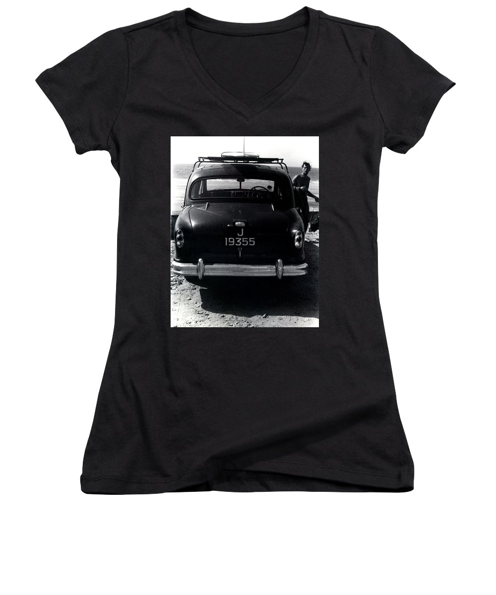 Surf Women's V-Neck T-Shirt featuring the photograph 50's Surfer by Charles Stuart