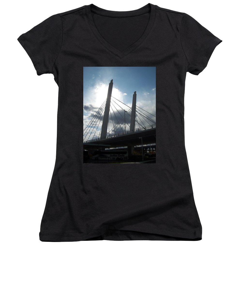 Bridge Women's V-Neck T-Shirt featuring the photograph 6th Street Bridge Backlit by Anita Burgermeister