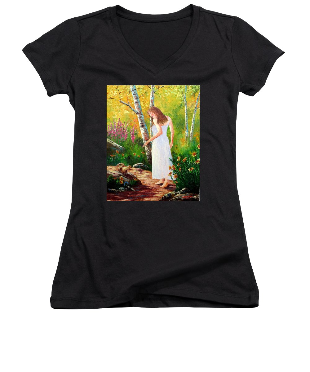 Landscape Women's V-Neck T-Shirt featuring the painting A Friendly Greeting by David G Paul