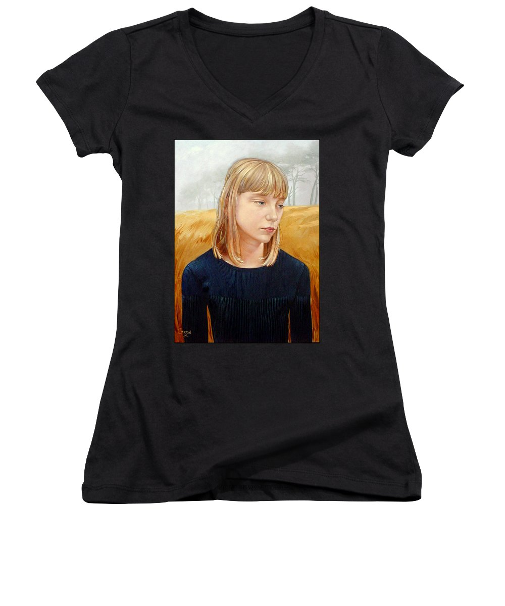 Girl Women's V-Neck T-Shirt featuring the painting A Gang Of Crows by Jerrold Carton