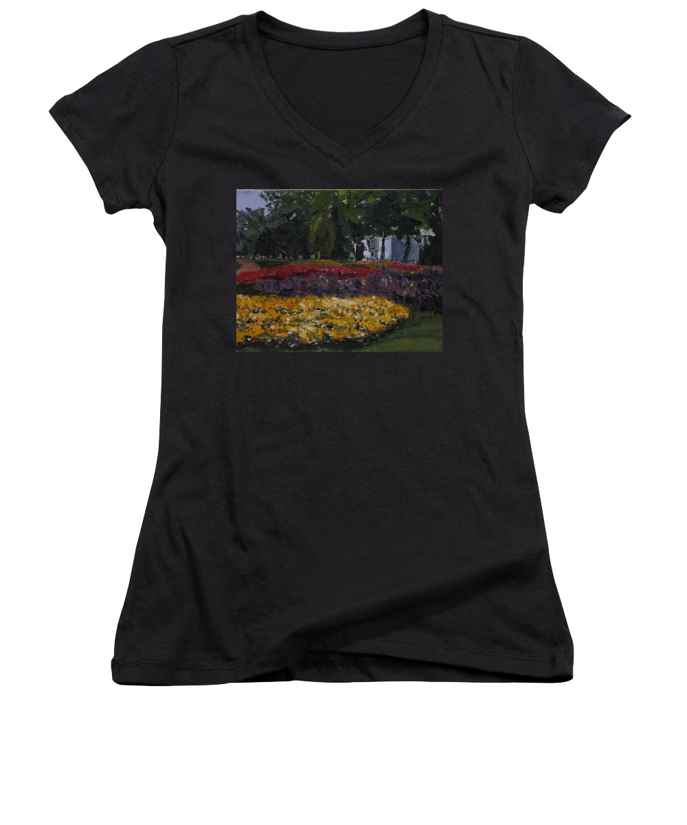 Landscape Women's V-Neck T-Shirt featuring the painting A Park In Cambrige by Piety Choi