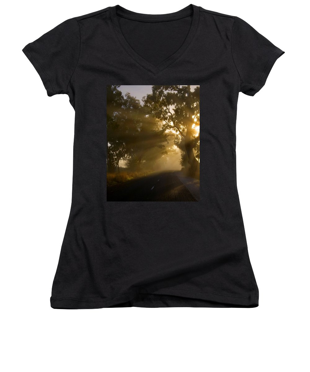 Highway Women's V-Neck (Athletic Fit) featuring the photograph A Road Less Traveled by Mike Dawson